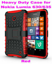 Red Heavy Duty Strong Tradesman TPU Case Cover Stand For Nokia Lumia 630/635 4G
