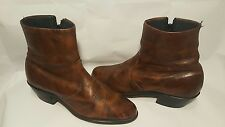 Vintage Rocker Western Cowboy Riding Zip Up Leather ? Ankle Boots Men's