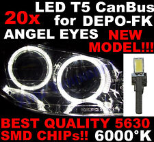 N° 20 LED T5 6000K CANBUS SMD 5630 Phares Angel Eyes DEPO Renault Clio 2 II 1D7