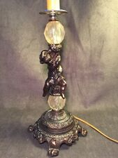 "Gorgeous Vintage  20 1/2"" Glass Metal  Cherub Lamp Accurate Cast A4376"
