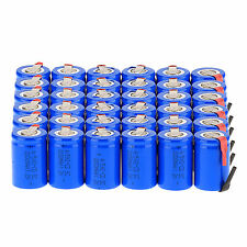 Lot of 36pcs NiCd 4/5 SubC Sub C 1.2V 2200mAh Rechargeable Battery with Tab Blue