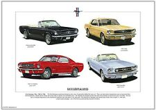 FORD MUSTANG 1964, 1965 & 1966 - Art Print  A3 size - Coupé Convertible Fastback