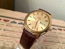 VINTAGE GOLD OMEGA DATE RARE WATCH QUARTZ MOVEMENT IN NICE CONDITION