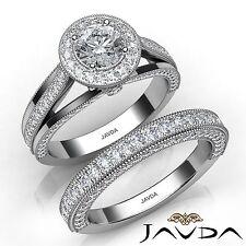 2.42ct Round Cut Diamond Engagement Milgrain Ring GIA F SI1 Platinum Bridal Set