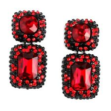 ANTHROPOLOGIE ELEGANT RED EMBOSSED STONES SQUARE GLASS DROP EARRINGS NEW