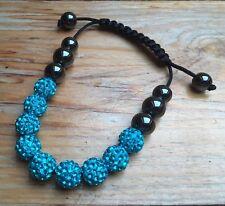 Sparkly Rhinestone Bead Bracelet/Turquoise Blue Tone/Hematite/Black Woven Cord