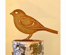 Elegant Garden Sparrow Bird Silhouette Rusty Metal Rustic Art Made in the USA