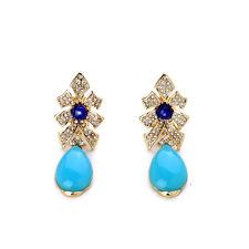 NEW * Urban Anthropologie Fancy Ribbon Blue Beaded Rhinestone Earrings