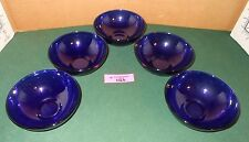 5 Vintage COBALT Blue Glass Salad Fruit Cereal Bowls