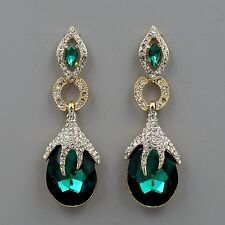 18K Gold Plated GP Emerald Green Crystal Rhinestone Drop Dangle Earrings 00460