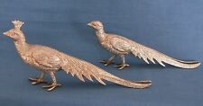 VINTAGE PAIR SILVER PLATED PHEASANT BIRDS MENU CARD HOLDERS ITALY ITALIAN TABLE