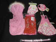 5 GORGEOUS GIRLIE DOG CLOTHES & DIAMANTE COLLAR Size SMALL BNWT
