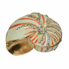 Crystal Bejeweled Clam Shell Enamelled Treasures Trinket Box Necklace Storage