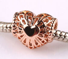 rose gold hollow love big hole spacer beads fit Charm European Bracelet B525