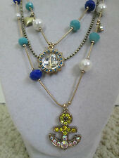 NWT Auth Betsey Johnson Ship Shape Anchor Boat 3 Row Beaded Chain Necklace