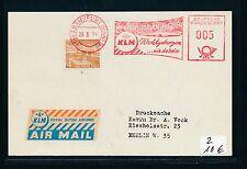 94689) AFS meter 5PF Frankfurt 1954 KLM Winterflugplan + 4PF Mke Label hellblau