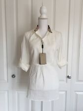 Burberry Brit $295 White 100% Cotton Blouse Shirt - Medium