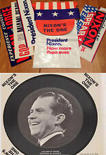 President Richard Nixon 9 Campaign Items 1960-72 with Record + Postcard Unused|