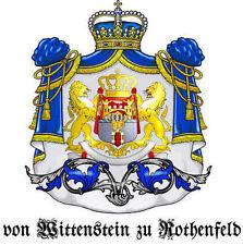 GRAF/GRÄFIN von WITTENSTEIN zu ROTHENFELD Adelstitel Wappen Urkunde Lord Doktor