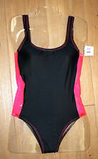 NEW TYR Women's PAPARAZZI SIDE Black / Hot Pink SWIMSUIT - Plastic Side - SMALL
