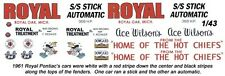 Ace Wilson's Royal Pontiac's 1961 1/43rd Scale Slot Car Waterslide Decals