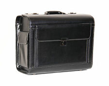 Large Pilot Case Rep Business Briefcase Leather Look Cabin Travel Bag Black NEW