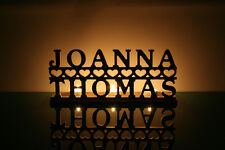 Tea light holder - personalised 2 names and hearts, candle holder UNPAINTED