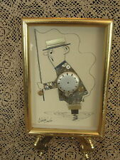 Vintage Steampunk Art Signed Clock Watch Parts Picture Mosaic Comical Fisherman