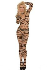 Elegant Moments Queen Zebra Print Bodystocking 1690Q Nude One Size Fits All -