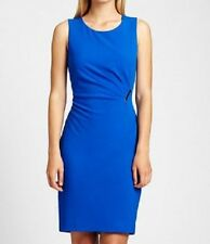 Calvin Klein Dress Sz 10 Solid Electric Blue Sheath Business Dinner Cocktail