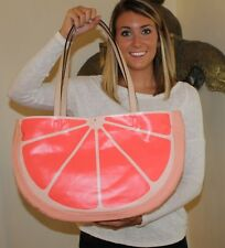 NWT Kate Spade Flights of Fancy Grapefruit Tote Travel Beach Shopper Canvas pink