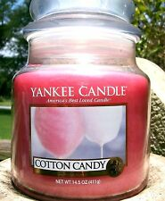 "Yankee Candle ""COTTON CANDY"" Food Scented Medium 14.5 oz ~WHITE LABEL~ NEW!"