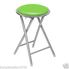 Round Folding Stool Kitchen Breakfast Bar Soft Seat Chair Silver Frame Pub
