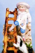 Antique Match Striker Boy Dog Ladder Climbing Wall Porcelain Holder Scarce