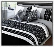 280TC Black Grey White Embroidery * 3pc KING QUILT DOONA COVER SET * BRAND NEW