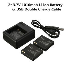 2X1010mAh Battery+Dual Charger Dock USB Cable for Xiaomi Yi Sports Action Camera
