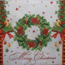 4 X Solo Papel Servilletas-Corona De Navidad-Decoupage Y Craft - 7