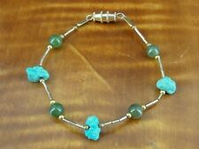 Turquoise Nuggets Green Stone Gold Vermeil Beads Sterling Silver 925 Bracelet