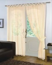 Pair of Cream 59'' x 90''  Voile Net Tab Top Curtain Panel + Tie Back