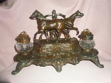 "STUNNING FRENCH ART NOUVEAU HORSE PEN AND INK WELL.signed ""A. Bossu"""
