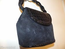 Vintage PAUL JOSEPH Navy Blue Suede & Moc Croc Patent Leather Small Bag Made USA