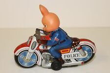 Tin Haji Police Rabbit Animal Motorcycle made in Japan in 1960's 51/4 inch long