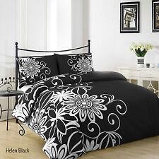 """NEW """"HELEN BLACK / WHITE """" SUPERKING SIZE Duvet Set Duvet Cover & 2 Pillow cases"""
