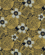 Gold Medallions:  Indigo/Gold Metallic Asian Japanese Quilt Fabric -1/2 Yd.