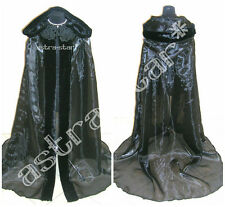FUR MEDIEVAL CAPE BLACK CLOAK DRESS WITCH VAMPIRE COSTUME GOTHIC LARP WICCA LOTR