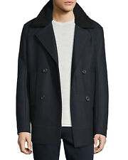 VL NWT VINCE WOOL BLEND WITH GENUINE SHEARLING COLLAR MEN PEACOAT SIZE L $795