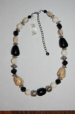 Womens Fashion Necklace by Worthington-JC Penney-Black/Silver/Cream Beads-NEW !