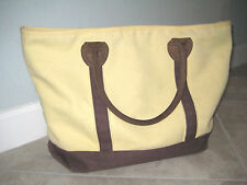 Durable RESTORATION HARDWARE Brown Leather and Canvas Tool Travel Tote Bag USED