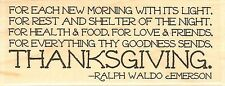 Thanksgiving Quote, Wood Mounted Rubber Stamp IMPRESSION OBSESSION - NEW, D14283
