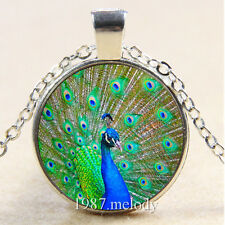 Photo Cabochon Glass Silver Chain Pendant Necklace (peacock)